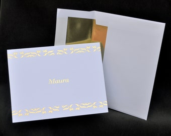 Gold Foil Printed Personalized Note Cards, Stationery Set, Thank You Cards, Foil Stationary, Notecards, Gold Foil Cards, Couples Stationery