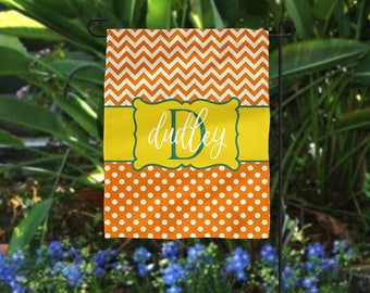 Garden Flag, Chevron Garden Flag, Polka Dot Garden Flag, Orange Garden Flag, Chevron Flag, Personalized Flag, Personalized Garden Flag