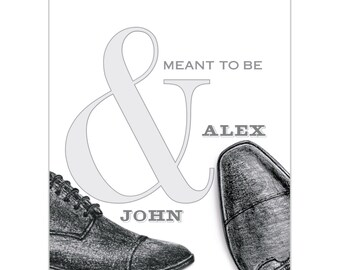 Personalized Wedding Canvas His and His Wedding Shoes Wedding Present Hand-Drawn Illustration Husbands Wedding