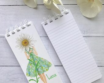 Set of 3 Notepads, Spiral Bound Notepads, Personalized Note Pads, Personalized Birthday Gift, Stocking Stuffer, Teacher Gift, Daisy Notepad