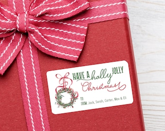 Personalized Christmas Tags, Personalized Gift Labels, Christmas Stickers, Christmas Labels, Have a Holly Jolly Christmas, Custom Stickers