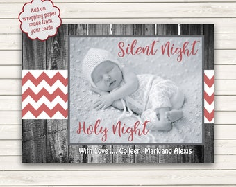 Photo Christmas Cards, Black and White Christmas Cards, Photo Wrapping Paper, Chevron Christmas Cards, Silent Night Holy Night, Red Chevron