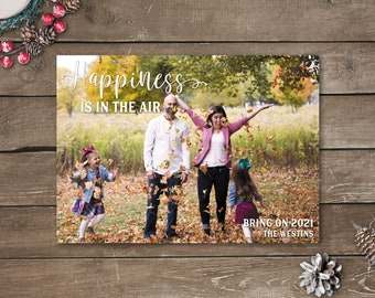 Happiness Is In The Air, Photo Holiday Cards, Photo Christmas Cards, Printed Photo Christmas Cards, Black White and Gold Christmas Cards