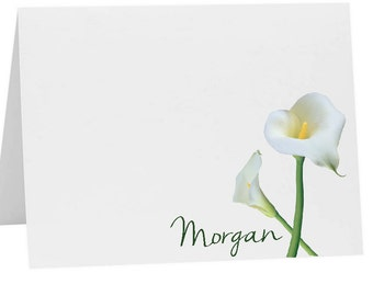 Lily Personalized Note Cards, Calla Lily Stationery Set, Christmas Gift, Calla Lily Notecards, Thank You Cards, Stationary Set, Custom Cards