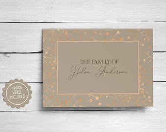 Bereavement Cards, Sympathy Acknowledgement Cards, Funeral Thank You Cards, Rose Gold Funeral Cards, Personalized Funeral Note Cards