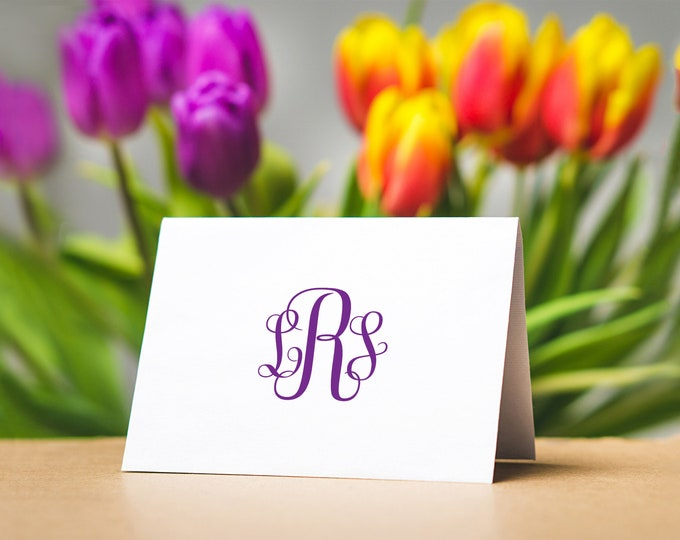 Featured listing image: Monogrammed Note Cards, Personalized Note Cards, Monogrammed Stationery Set, Traditional Monogram Stationery, Thank You Cards, Notecards