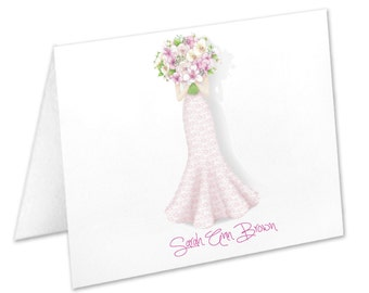 Personalized Bridal Shower Note Cards, Stationery Set, Thank You Cards, Wedding Dress, Wedding Flowers, Stationary, Notecards, Wedding Gown