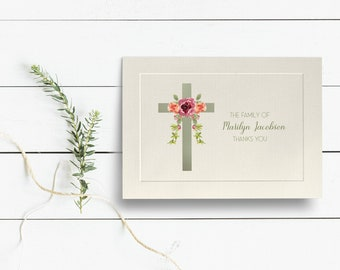 Personalized Sympathy Acknowledgement Cards, Religious Funeral Thank You Cards, Cross Funeral Thank You Cards, Embossed Panel Cards, Flowers