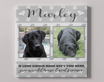 Personalized Pet Memorial Canvas with Photos, Cat Memorial Canvas, Dog Memorial Canvas, Animal Memorial Canvas, Pictures Canvas, Pawprints