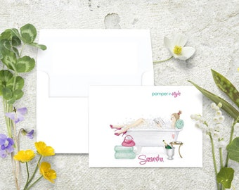 Spa Personalized Note Cards, Stationery Set, Pamper In Style, Thank You Cards, Stationary Set, Bathtub Notecards, Champagne Notecards