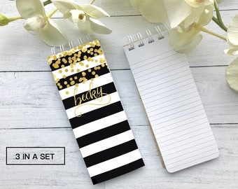 Trendy Notepad, Black and White Notepad, Set of 3 Personalized Note Pads, Gold Foil Note Pad, Teacher Gift, Stocking Stuffer, Office Gift