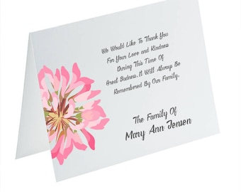 Funeral Thank You Cards, Sympathy Acknowledgement Cards, Bereavement Cards, Funeral Cards, Personalized Funeral Note Cards, Pink Flower Card