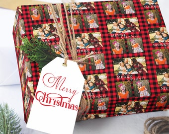 Photo Wrapping Paper, Custom Wrapping Paper, Photo Christmas Wrapping Paper, Buffalo Plaid Wrapping Paper, Photo Holiday Gift Wrap