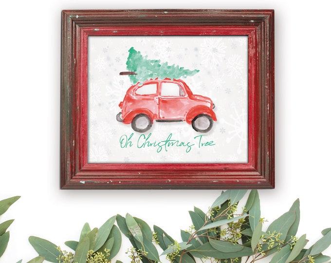 Featured listing image: Christmas Tree Print, Watercolor Christmas, Christmas Tree on Car, Volkswagon Watercolor,  Watercolor Christmas Tree, Oh Christmas Tree
