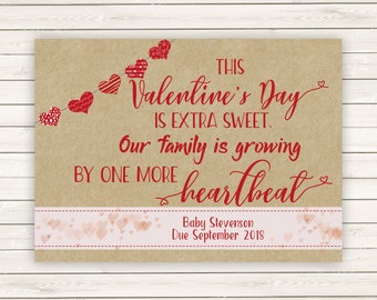 Valentine's Day Pregnancy Announcement, Valentine's Pregnancy Reveal, Valentine's Pregnancy Announcement, Printed Pregnancy Annoucements