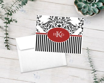 Personalized Damask Note Cards, Stationery Set, Black and White Stripes, Custom Notecards, Thank You Cards, Personalized Stationary