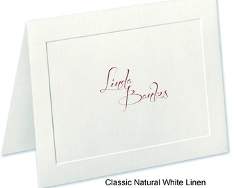 Embossed Panel, Linen Finished Personalized Note Cards & Stationery Set | The Enchanted Envelope