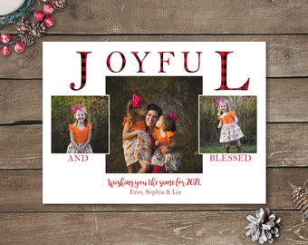 Joyful and Blessed Photo Christmas Cards, Photo Holiday Cards, Printed Photo Christmas Cards, Buffalo Plaid Christmas Cards, Buffalo Check