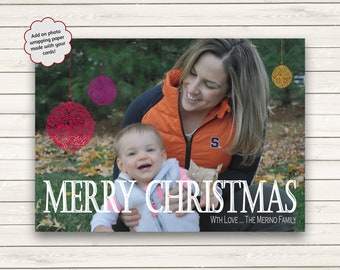 Printed Photo Christmas Cards, Single Photo Christmas Cards, Holiday Photo Cards, Merry Christmas, Photo Wrapping Paper, Baby Photo Cards