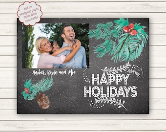 Photo Christmas Cards, Printed Christmas Cards, Blackboard Christmas Cards, Holly Christmas Card, Chalkboard Christmas Cards, Photo Wrapping