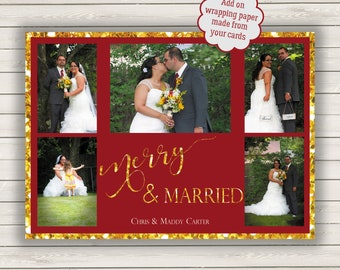 Wedding Photo Christmas Cards, Just Married Christmas Cards, Photo Wrapping Paper, First Year Married Christmas Card, Wedding Wrapping Paper