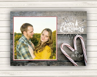 Photo Christmas Cards, Holiday Photo Cards, Printed Christmas Cards, Candy Cane Christmas Cards, Vintage Christmas Cards, Picture Cards