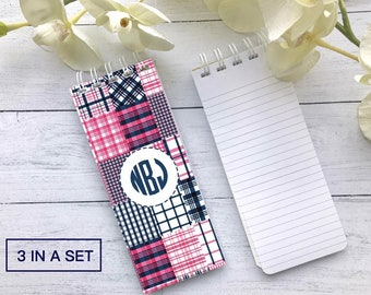 Patch Madras Notepad, Plaid Notepad, Set of 3 Personalized Notepads, Patch Madras, Monogram Notepad, Plaid Lover Gift, Navy and Pink Notepad