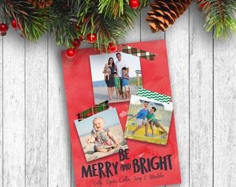 Photo Christmas Cards, Printed Photo Christmas Cards, Plaid Christmas Cards, Merry and Bright Christmas Card, Holiday Photo Cards, Multiple