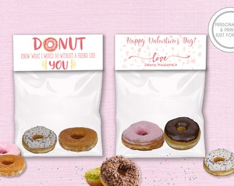 Kids Valentines Day Cards, Personalized Valentines Day Bag Toppers,  Printed Kids Valentines, Donut Valentines Day Cards, Donut Bag Toppers