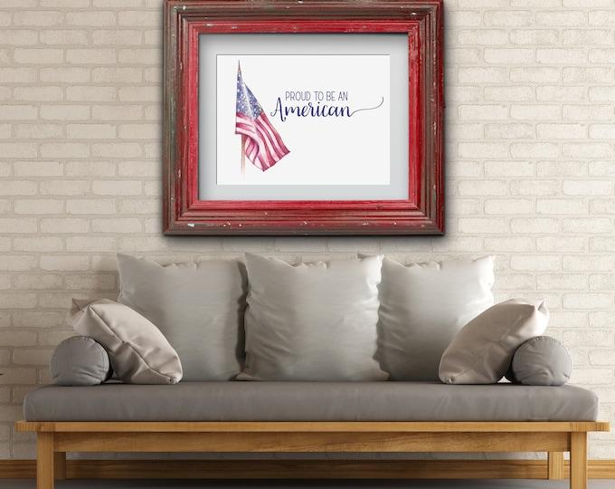 Featured listing image: American Flag Artwork, US Flag Print, Flag Decor, United States Flag Art, Fourth of July Decor, American Flag Print, Proud to be an American