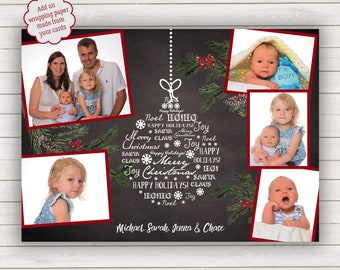 Blackboard Christmas Cards, Photo Christmas Cards, Printed Christmas Cards, Holiday Photo Card, Photo Wrapping Paper, Chalkboard Cards