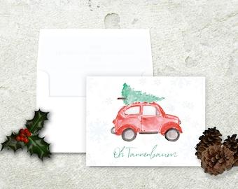 Christmas Tree on Car, Christmas Card, Oh Tannenbaum, Oh Christmas Tree, German Christmas Card, Vintage Christmas Card, Red Volkswagon