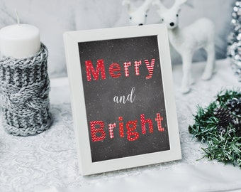 Black and Red Christmas Print, Merry and Bright Print, Christmas Decor, Chalkboard Christmas Decoration, Merry and Bright Holiday Picture