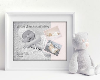 Baby Birth Announcement, Newborn Gift, New Baby Artwork, Baby Birth Stats, Personalized Baby Artwork, Baby Photo Artwork, Nursery Artwork