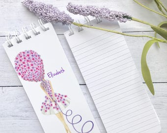 Set of 3 To-Do List, Note Pad, Spiral Bound, Personalized,  Stocking Stuffer, Babysitter Gift, Purple, Pink, Balloon, Birthday Gift, Notepad