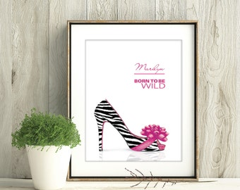 Zebra Print Artwork, Zebra Print Shoes, Born To Be Wild, Black White Heel, Zebra Design, Shoe Lover Gift, Personalized Zebra Print