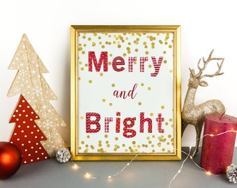Merry and Bright Print, Christmas Print, Christmas Decor, Red and Gold Christmas Decoration, Merry and Bright Christmas Picture