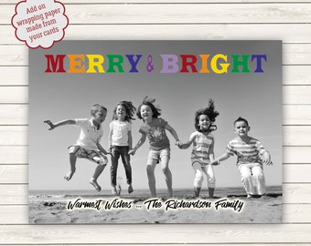 Photo Christmas Cards, Printed Christmas Cards, Black and White Photo Card, Merry and Bright Christmas Cards, Photo Wrapping Paper