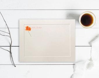 Personalized Flat Note Cards, Poppy Note Cards, Thank You Cards, Poppy Stationery Set, Stationary Set, Flower Notecards, Custom Cards