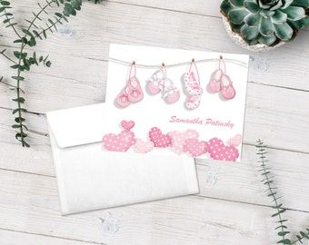 New Baby Girl Stationery, Personalized Note Cards, Stationery Set, Baby Thank You Cards, Baby Shower Gift, Pink Note Cards, Baby Notecards