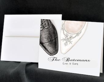 Wedding Notecards, Personalized Wedding Stationery, Thank You Cards, Bride Notecards, Wedding Shoes, Bridal Shoe, Wedding Stationary