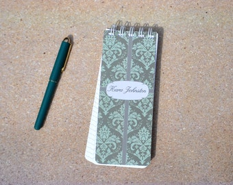 Personalized Notepads, Damask Note Pads, Grocery List, Stocking Stuff, Teacher Gift, Office Gift, Co-Worker Gift, Custom Notepad, Spiral Pad