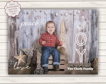 Photo Christmas Cards, Peace Love Joy Christmas Cards, Photo Wrapping Paper, Printed Photo Christmas Cards, Holiday Photo Cards