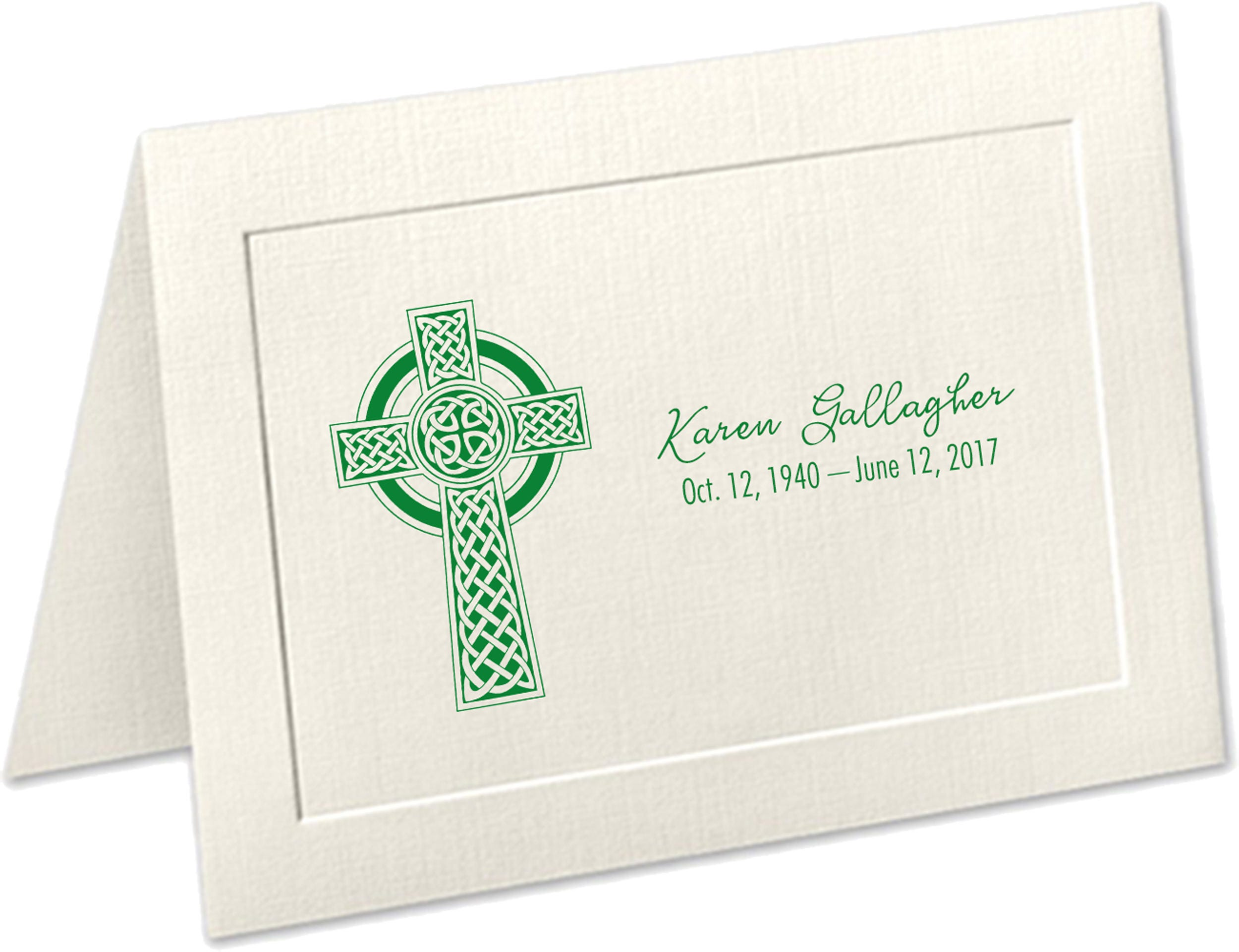 personalized sympathy acknowledgement cards celtic cross funeral thank you cards irish funeral thank you cards celtic cross funeral - Personalized Funeral Thank You Cards