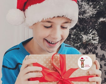 Christmas Tags From Santa, Personalized Gift Labels, Santa Christmas Stickers, Custom Holiday Stickers, Santa Claus Labels, Rudolf Stickers