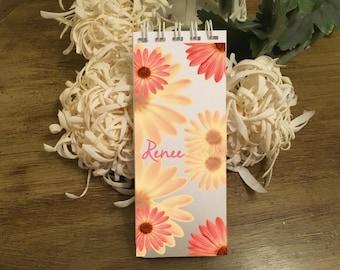 Gerber Daisy Note Pads, Set of 3 Notepads, Personalized Note Pads, Floral Notepads, Pink Daisy Note Pads, Yellow Daisy Notepads