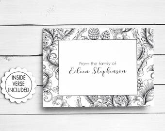 Bereavement Cards, Sympathy Acknowledgement Cards, Funeral Thank You Cards, Black and White, Funeral Cards, Personalized Funeral Note Cards