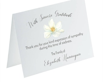 Funeral Thank You Cards, Sympathy Acknowledgement Cards, Bereavement Cards, Funeral Cards, Personalized Funeral Note Cards, Magnolia Card