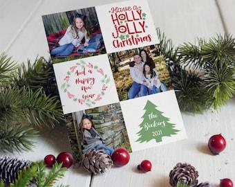 Holly Jolly Photo Christmas Cards, Photo Holiday Cards, Printed Photo Christmas Cards, Square Photos Christmas Cards, Multi Photo Cards