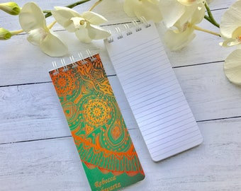 Spiral Bound, To-Do Lists, Set of 3 Personalized Note Pads, Green Ornamental Design, Retro Design, Grocery Lists, Lined Sheets of Paper